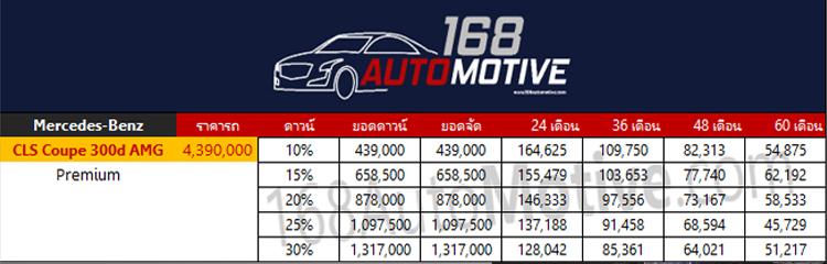 ตารางผ่อนดาวน์ Mercedes-Benz CLS Coupe 300d AMG Premium