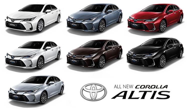 All NEW Toyota Corolla ALTIS มีสีตัวถังภายนอก มีให้เลือกทั้งหมด 7 สี