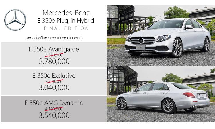 ราคาอย่างเป็นทางการ Mercedes-Benz E 350e Plug-in Hybrid (ประกอบในประเทศ)