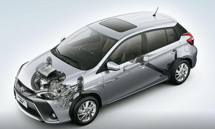 ตำแหน่งเครื่องยนต์ Toyota Yaris L Hatchback