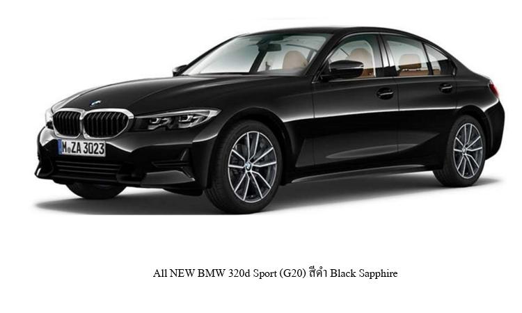 All NEW BMW 320d Sport (G20) สีดำ Black Sapphire
