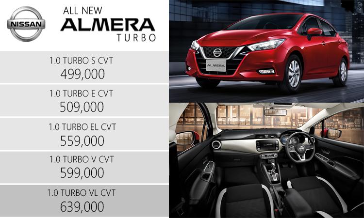 ราคาอย่างเป็นทางการ All NEW Nissan ALMERA 1.0 TURBO