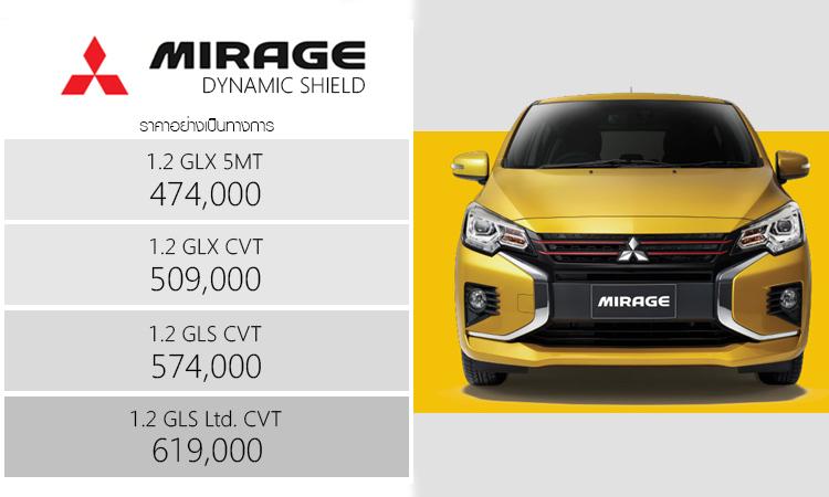 ราคาอย่างเป็นทางการ Mitsubishi Mirage Dynamic Shield (Minorchange)