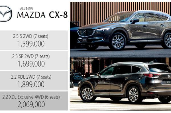 All NEW Mazda CX-8 เบนซิน 2.5 / ดีเซล 2.2 เทอร์โบ ราคา ตารางผ่อน/ดาวน์