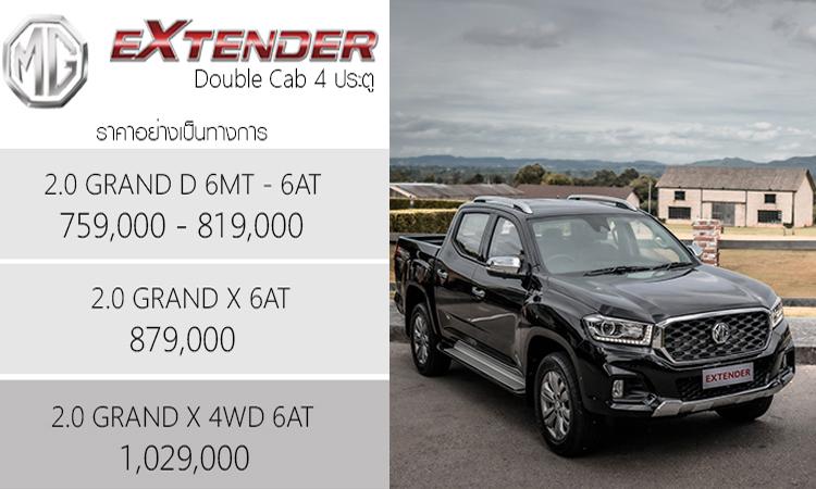 ราคาอย่างเป็นทางการ MG Extender Double Cab 4 ประตู