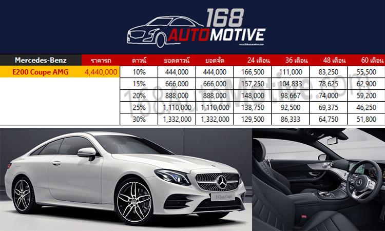 ตารางราคาผ่อนดวน์ Mercedes-Benz E200 Coupé AMG Dynamic 2020