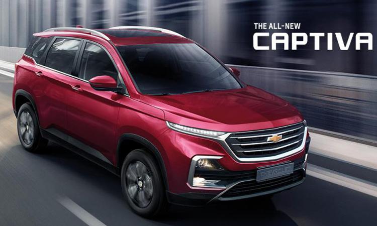 Chevrolet Captiva สีแดง Carnelian Red