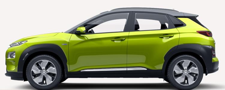 Hyundai KONA Electric EV สีเหลืองเขียว Acid Yellow