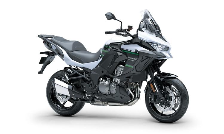 Kawasaki Versys 1000 SE สี Pearl Flat Stardust ขาว / เมทัลลิคแบน Spark สีดำ