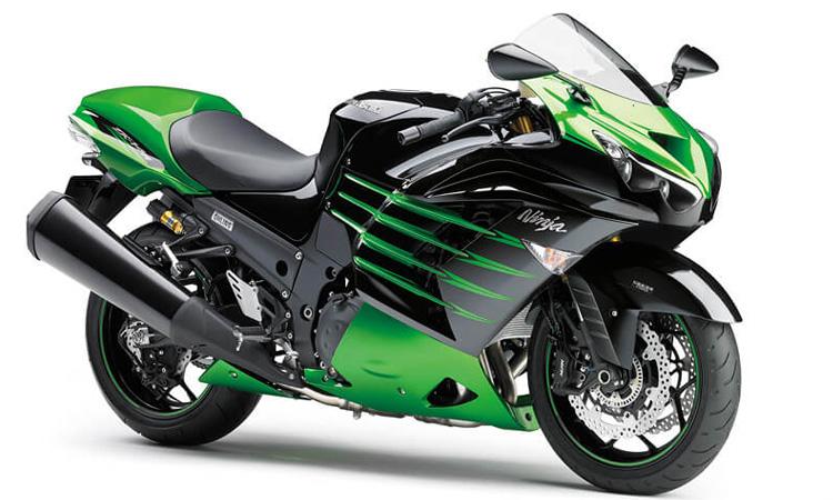 สีตัวถัง Kawasaki Ninja ZX-14R CANDY LIME GREEN METALLIC SPARK BLACK